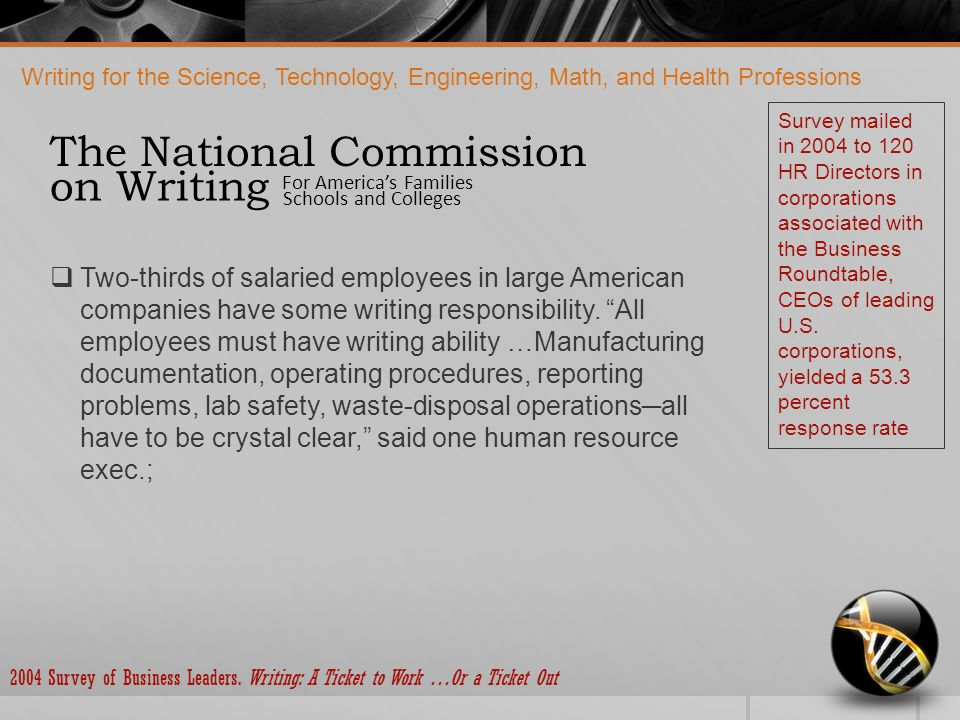 Writing for the Science, Technology, Engineering, Math, and Health Professions The National Commission For America's Families Schools and Colleges on Writing  Eighty percent or more of the companies in the service and finance, insurance, and real estate sectors, the corporations with the greatest employment growth potential, assess writing during hiring;  A similar dynamic is at work during promotions.