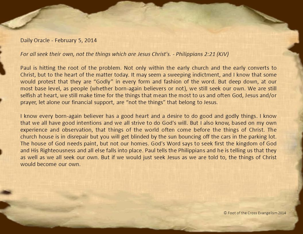 Daily Oracle - February 16, 2014 Look, I am coming like a thief.