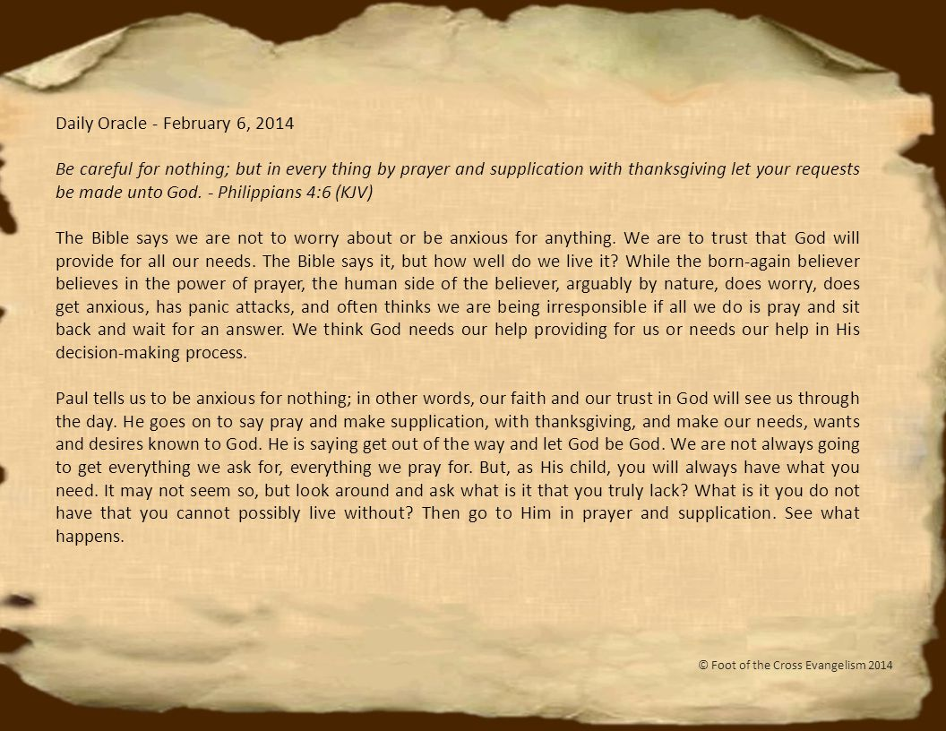 Daily Oracle - February 7, 2014 For by grace are ye saved through faith; and that not of yourselves; it is the gift of God; not of works, lest any man should boast.