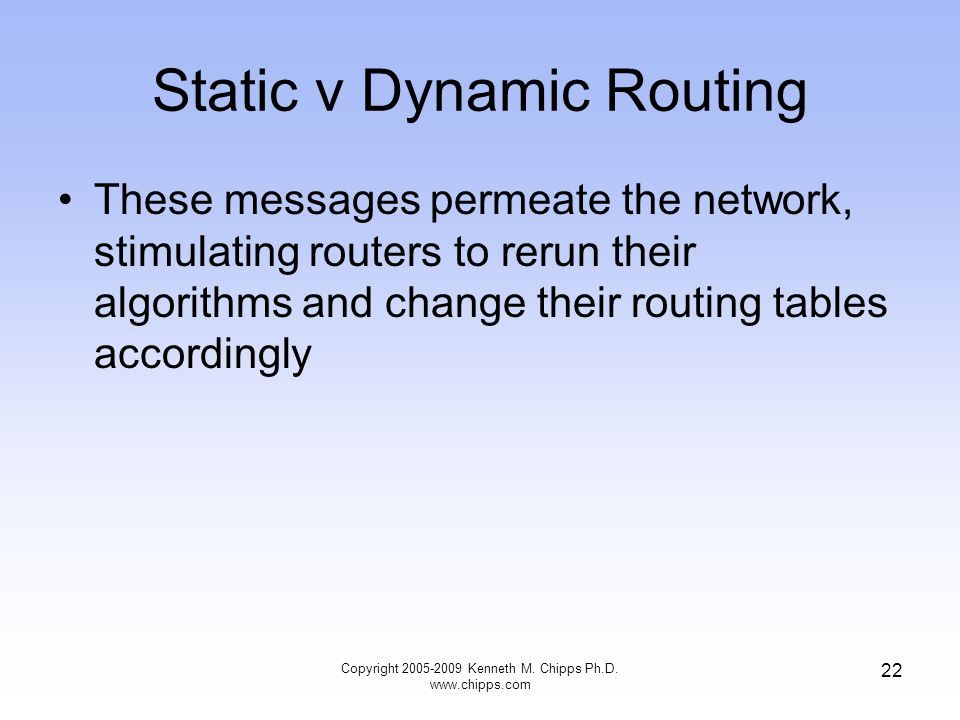 Copyright 2005-2009 Kenneth M. Chipps Ph.D. www.chipps.com 22 Static v Dynamic Routing These messages permeate the network, stimulating routers to rer