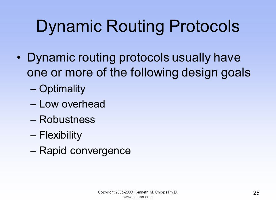 Copyright 2005-2009 Kenneth M. Chipps Ph.D. www.chipps.com 25 Dynamic Routing Protocols Dynamic routing protocols usually have one or more of the foll