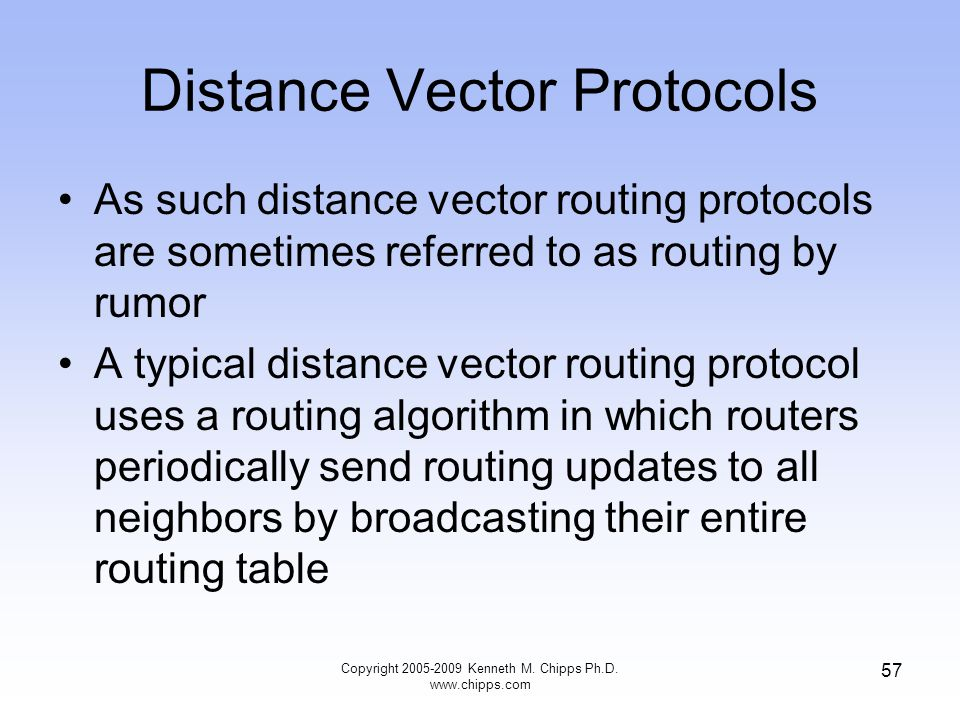 Copyright 2005-2009 Kenneth M. Chipps Ph.D. www.chipps.com 57 Distance Vector Protocols As such distance vector routing protocols are sometimes referr