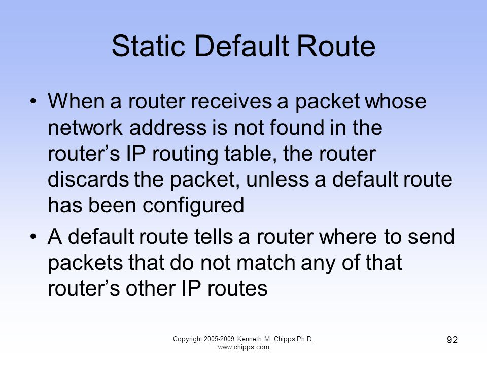 Static Default Route When a router receives a packet whose network address is not found in the router's IP routing table, the router discards the pack
