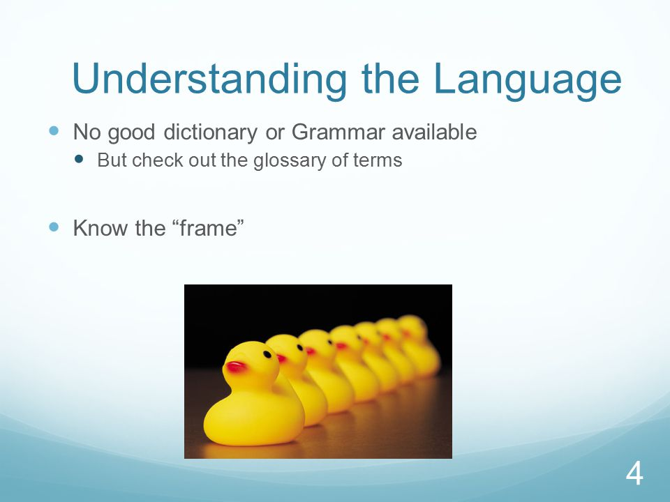 Understanding the Language No good dictionary or Grammar available But check out the glossary of terms Know the frame 4