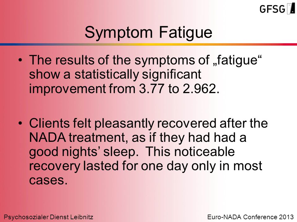 "Psychosozialer Dienst LeibnitzEuro-NADA Conference 2013 Symptom Fatigue The results of the symptoms of ""fatigue"" show a statistically significant impr"