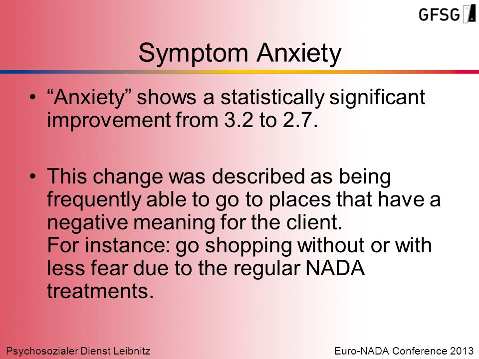 "Psychosozialer Dienst LeibnitzEuro-NADA Conference 2013 ""Anxiety"" shows a statistically significant improvement from 3.2 to 2.7. This change was descr"