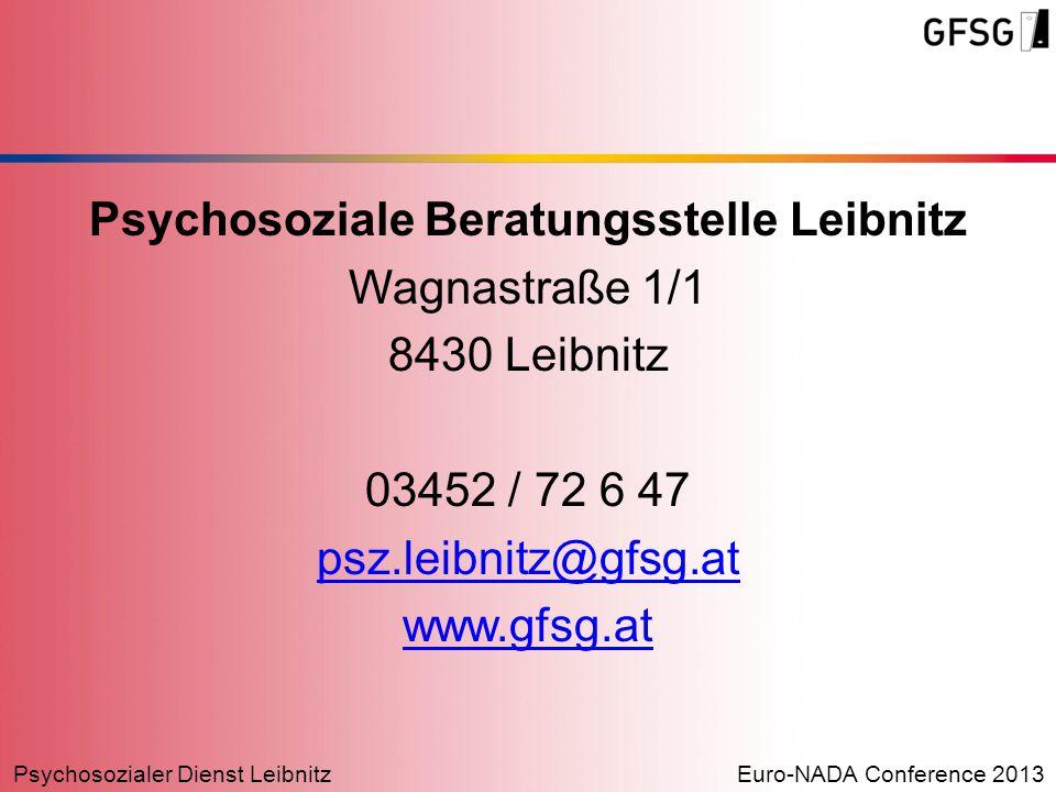Psychosozialer Dienst LeibnitzEuro-NADA Conference 2013 Psychosoziale Beratungsstelle Leibnitz Wagnastraße 1/1 8430 Leibnitz 03452 / 72 6 47 psz.leibnitz@gfsg.at www.gfsg.at