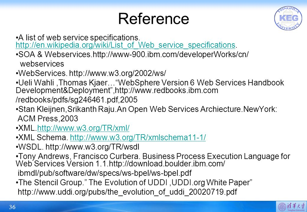 36 Reference A list of web service specifications. http://en.wikipedia.org/wiki/List_of_Web_service_specifications. http://en.wikipedia.org/wiki/List_