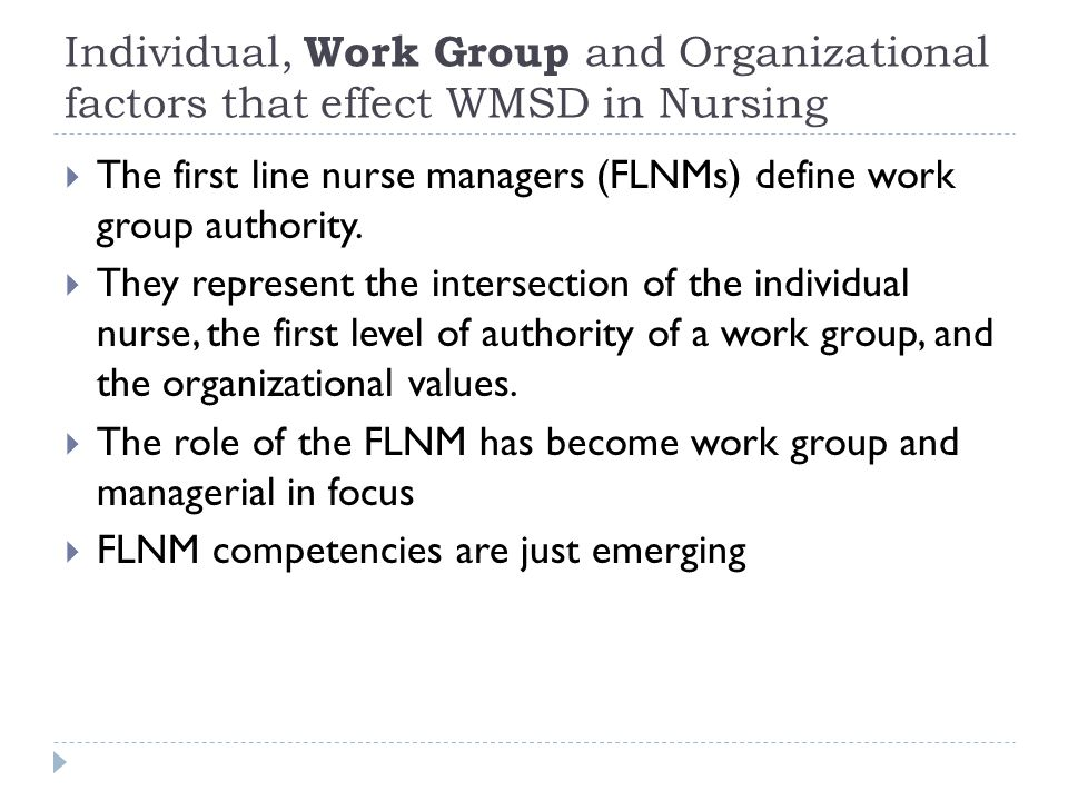  The first line nurse managers (FLNMs) define work group authority.