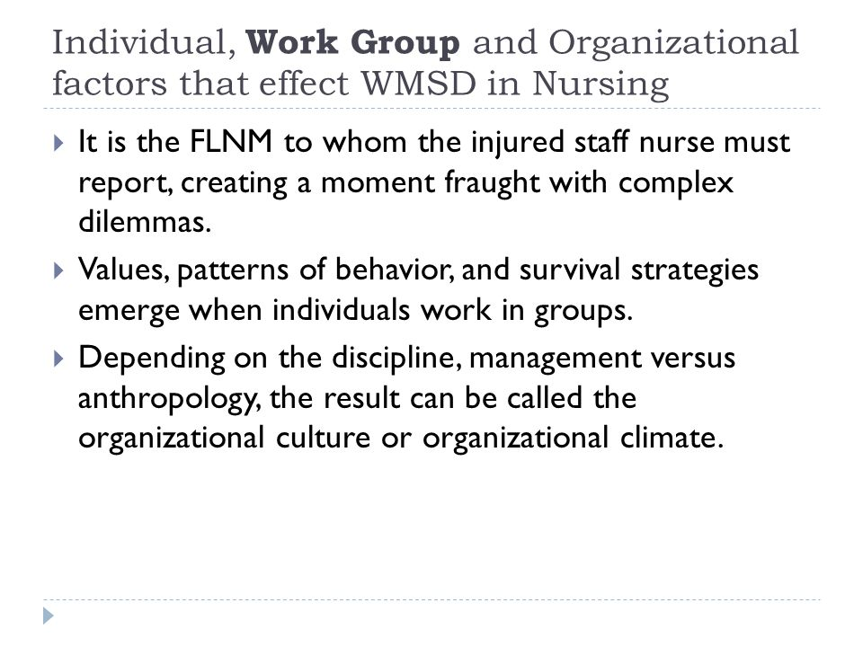  It is the FLNM to whom the injured staff nurse must report, creating a moment fraught with complex dilemmas.