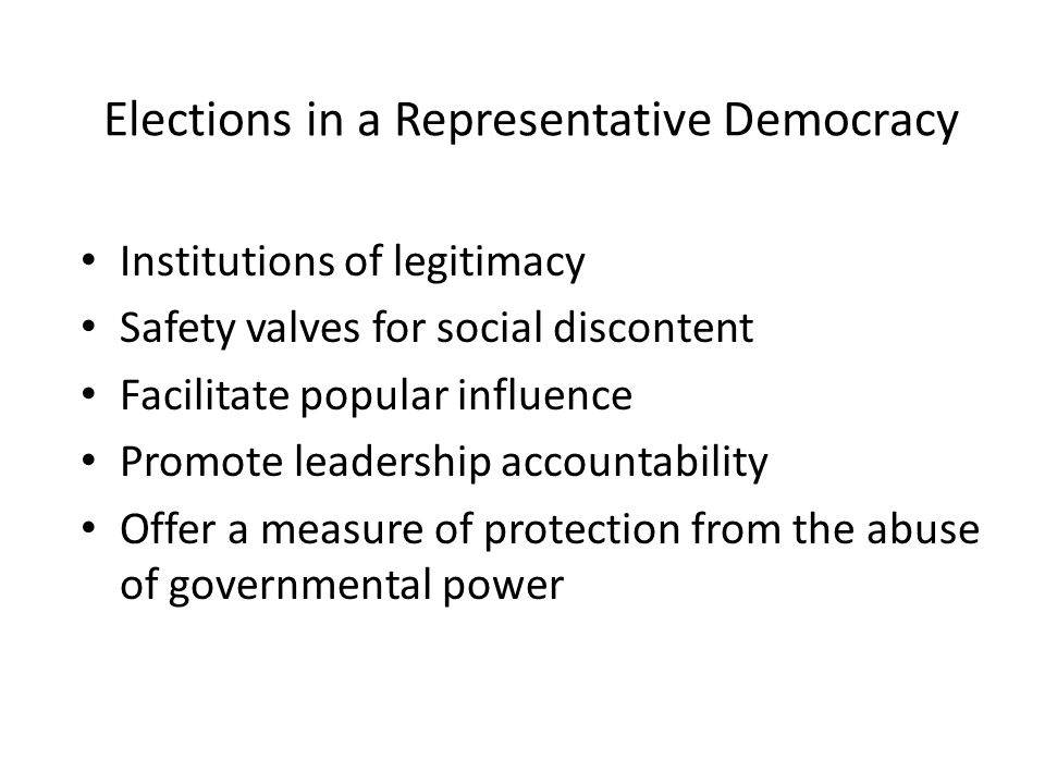 Elections in a Representative Democracy Institutions of legitimacy Safety valves for social discontent Facilitate popular influence Promote leadership