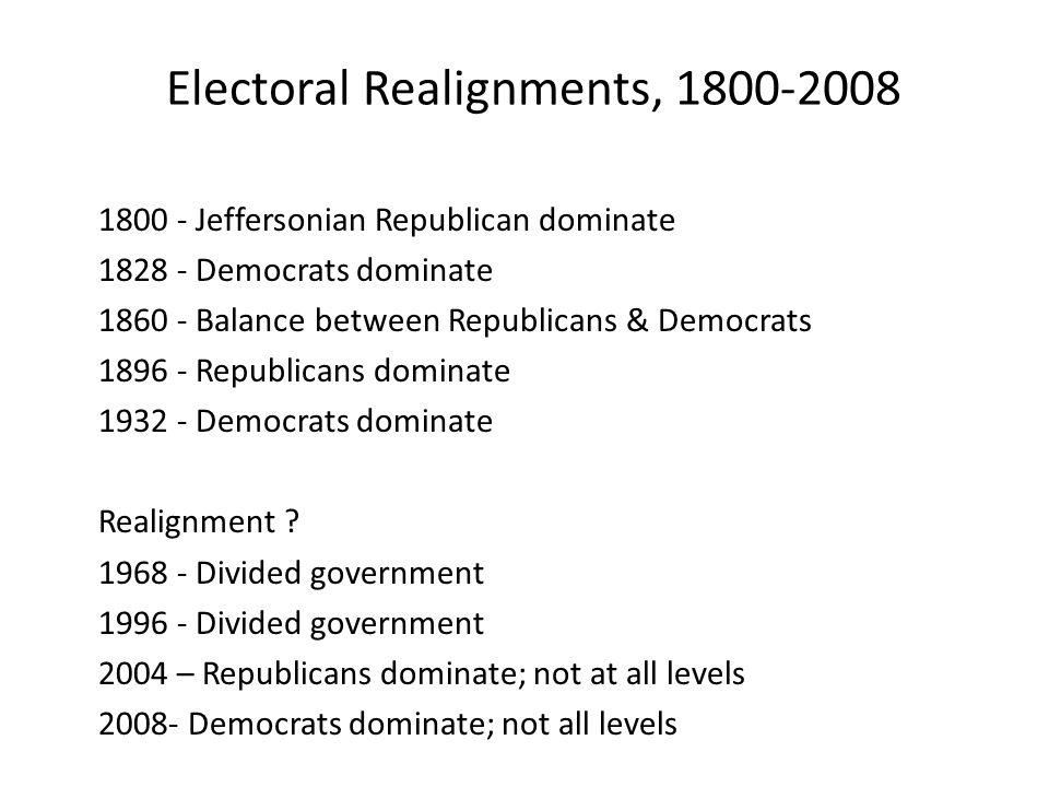 Electoral Realignments, 1800-2008 1800 - Jeffersonian Republican dominate 1828 - Democrats dominate 1860 - Balance between Republicans & Democrats 189