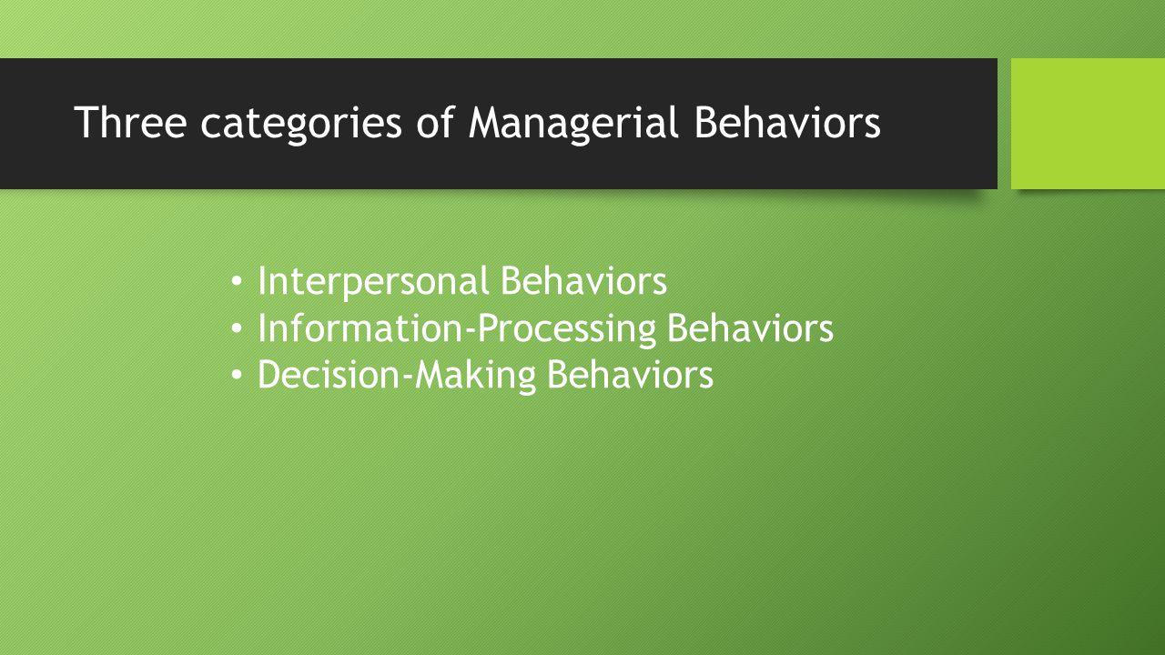 Three categories of Managerial Behaviors Interpersonal Behaviors Information-Processing Behaviors Decision-Making Behaviors