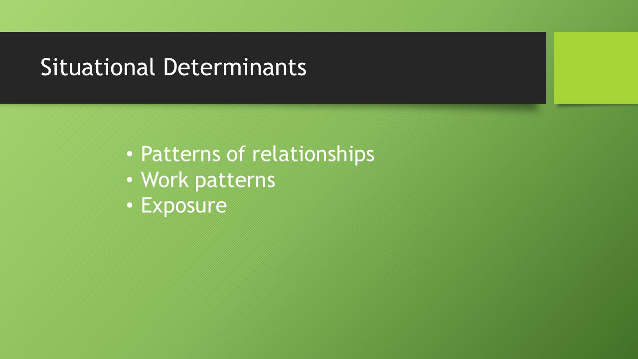 Situational Determinants Patterns of relationships Work patterns Exposure