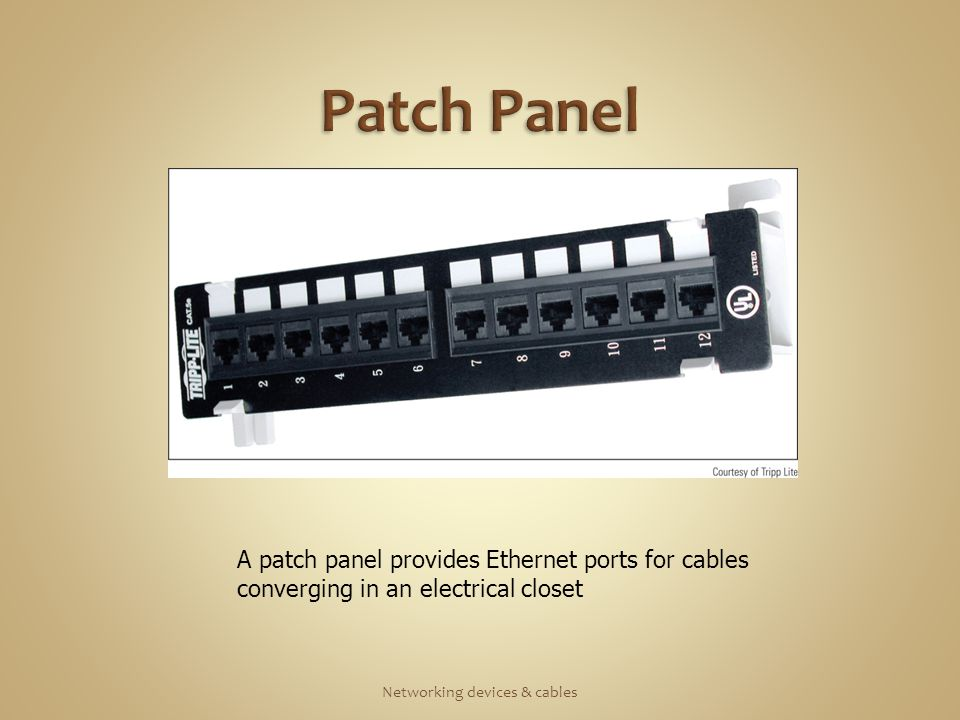 A patch panel provides Ethernet ports for cables converging in an electrical closet
