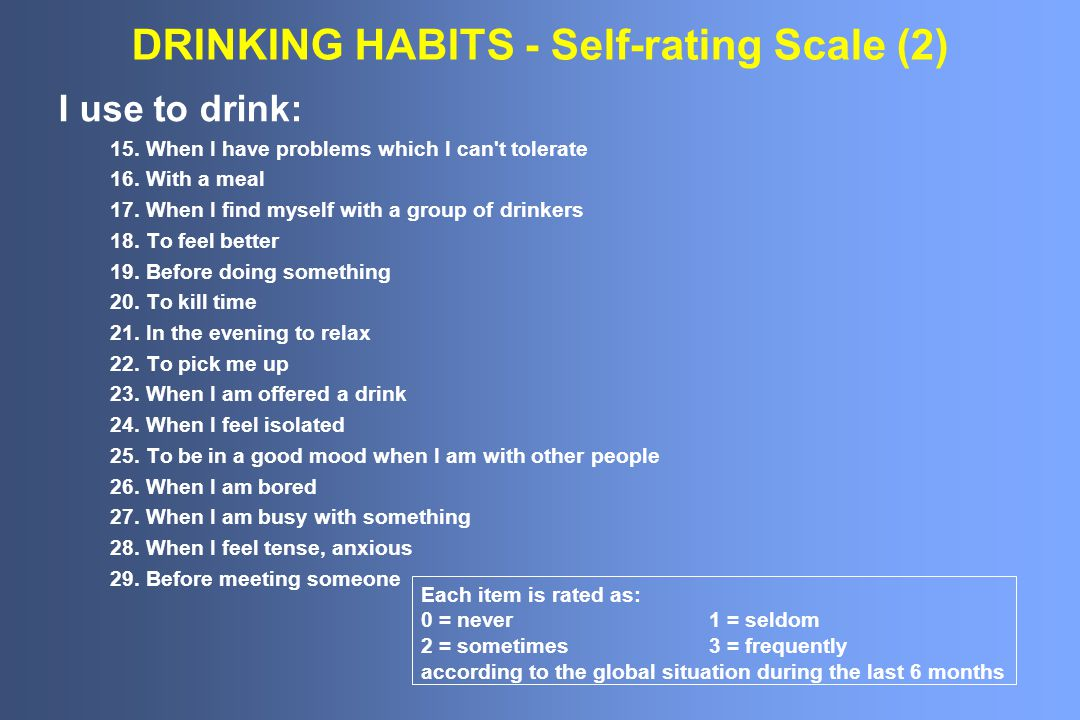DRINKING HABITS - Self-rating Scale (2) I use to drink: 15.