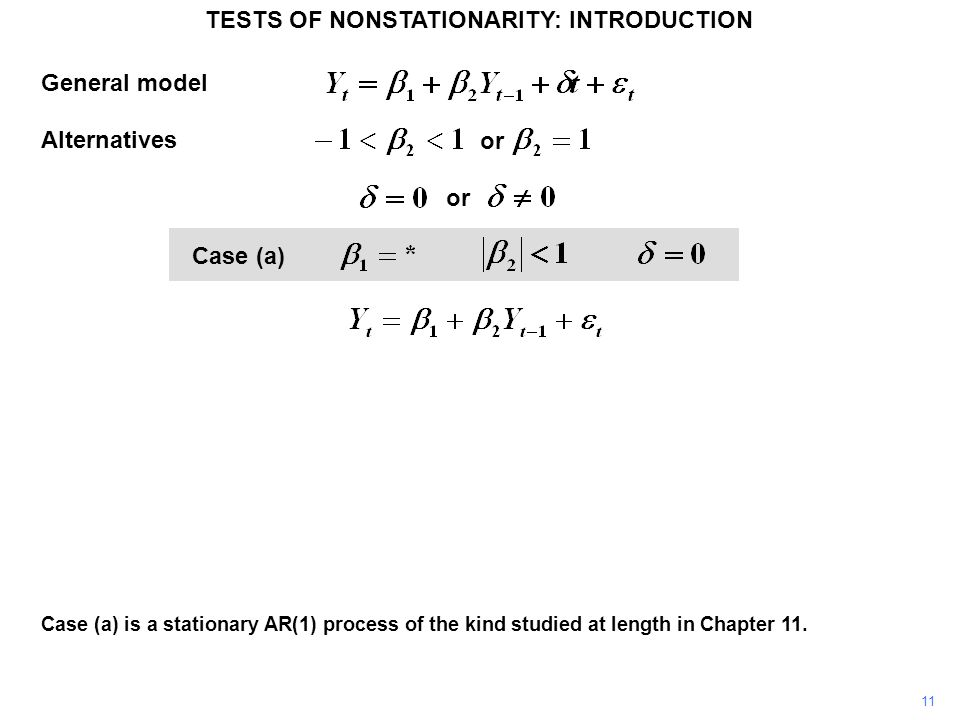 General model Alternatives Case (a) 11 or Case (a) is a stationary AR(1) process of the kind studied at length in Chapter 11. TESTS OF NONSTATIONARITY