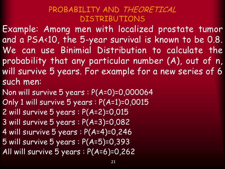 21 PROBABILITY AND THEORETICAL DISTRIBUTIONS Example: Among men with localized prostate tumor and a PSA<10, the 5-year survival is known to be 0.8. We