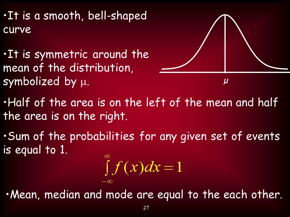 27 It is a smooth, bell-shaped curve Half of the area is on the left of the mean and half the area is on the right.