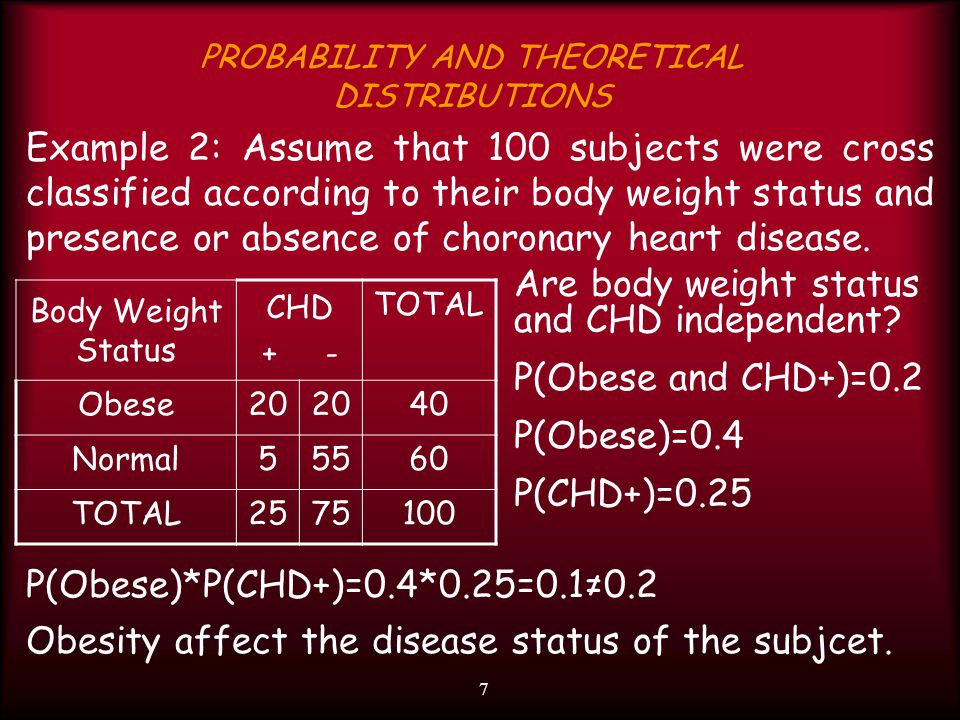 7 PROBABILITY AND THEORETICAL DISTRIBUTIONS Example 2: Assume that 100 subjects were cross classified according to their body weight status and presen