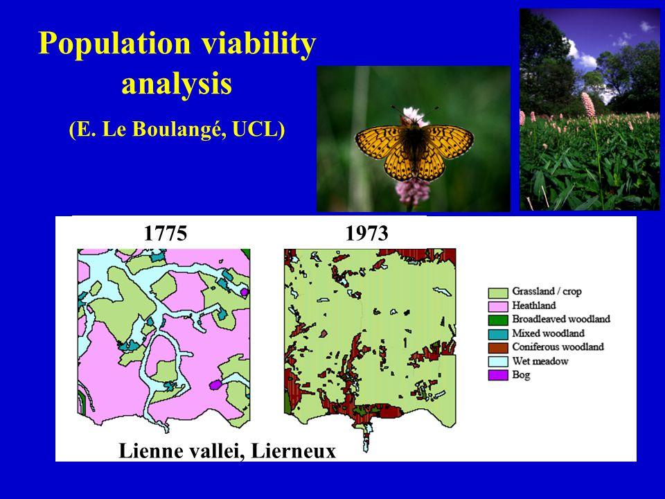 Population viability analysis (E. Le Boulangé, UCL) 1775 1973 Lienne vallei, Lierneux