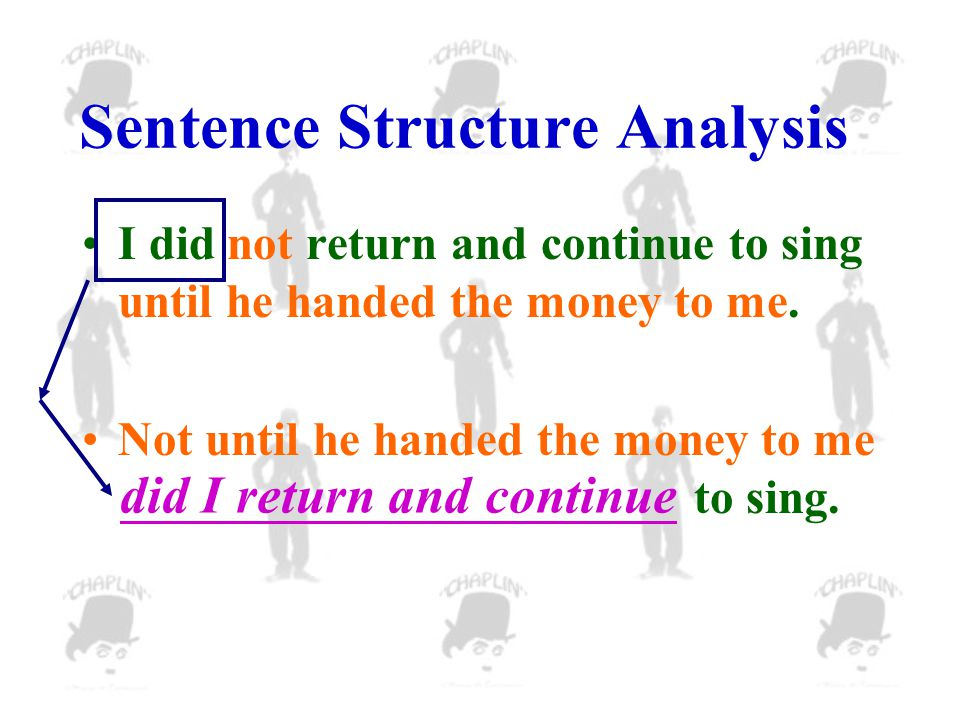 Sentence Structure Analysis I did not return and continue to sing until he handed the money to me.