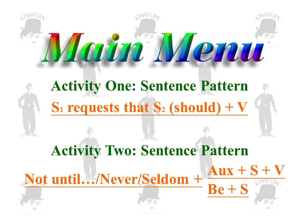 Activity One: Sentence Pattern S 1 requests that S 2 (should) + V Activity Two: Sentence Pattern Not until…/Never/Seldom + Aux + S + V Be + S