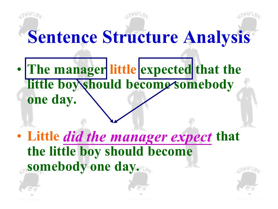 Sentence Structure Analysis The manager little expected that the little boy should become somebody one day.