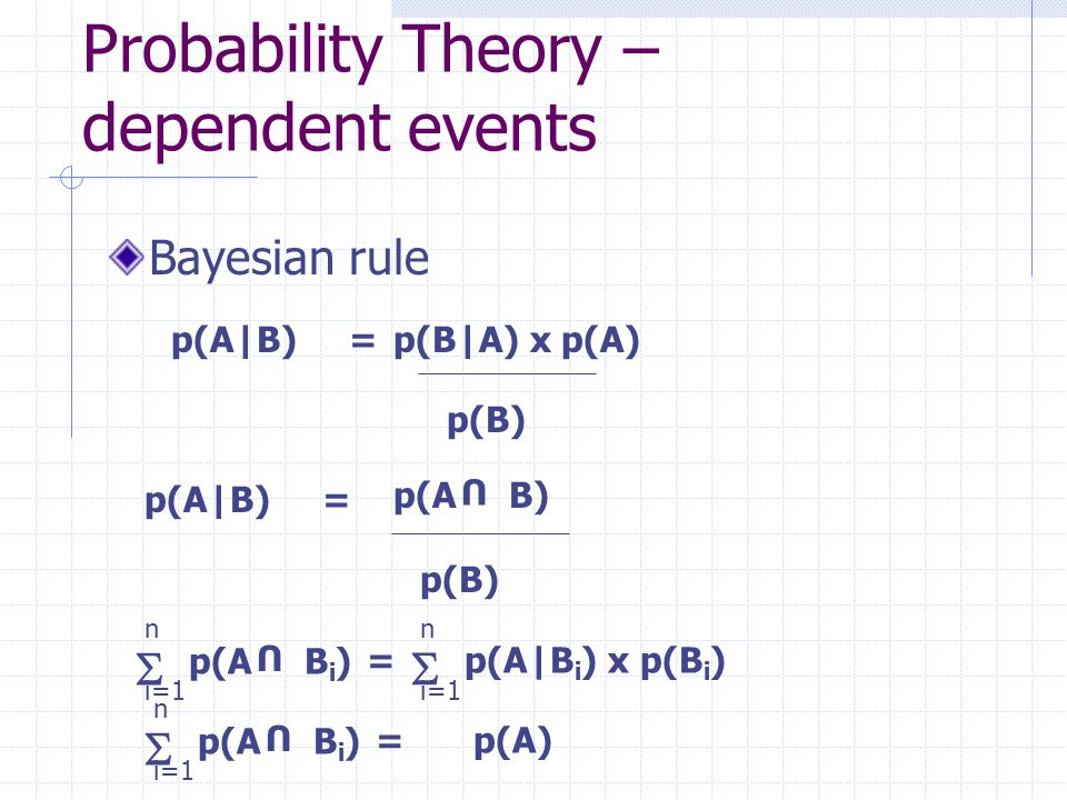 Bayesian Reasoning Assuming a random sampling of events, Bayesian theory supports the calculation of more complex probabilities from previously known results E.g.
