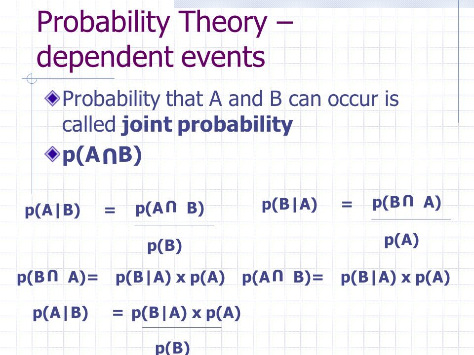Probability Theory – dependent events Bayesian rule p(A|B) = p(B) p(B|A) x p(A) p(A U B) p(A|B) = p(B)  n i=1 p(A U Bi)Bi) =  n i=1 p(A|B i ) x p(B i )  n i=1 p(A U Bi)Bi) =p(A)