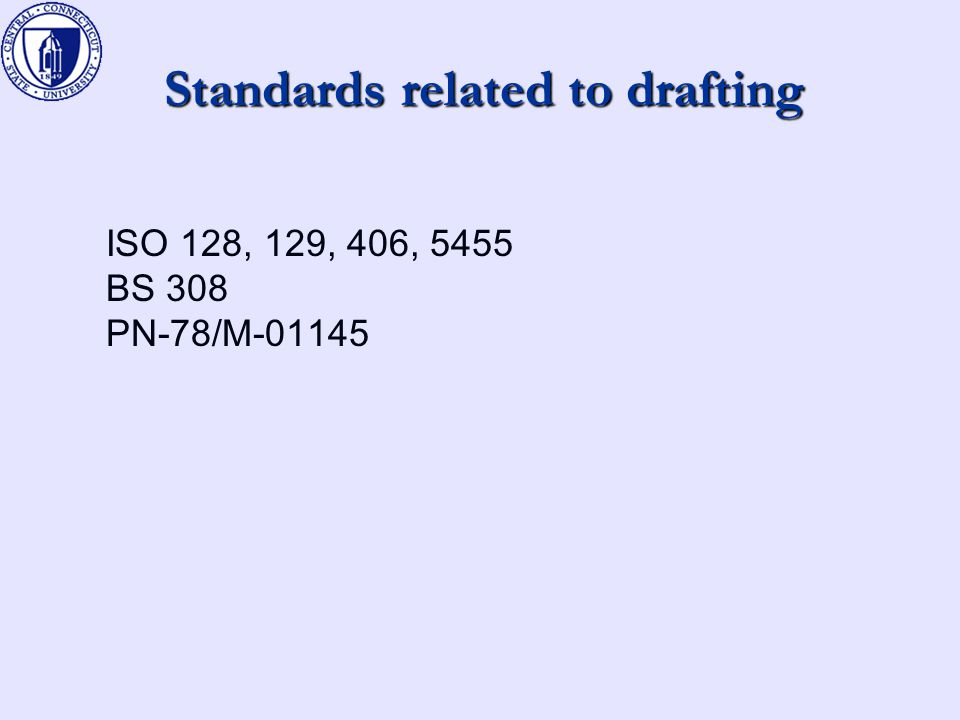 Standards related to drafting ISO 128, 129, 406, 5455 BS 308 PN-78/M-01145