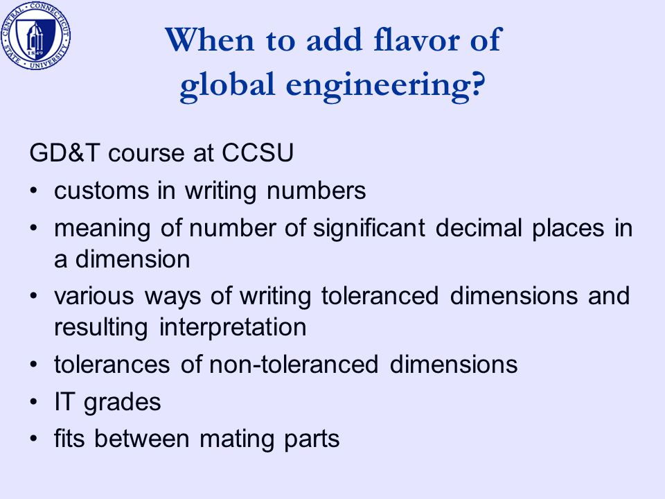 When to add flavor of global engineering.