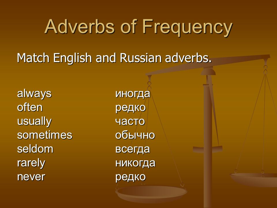 Adverbs of Frequency Match English and Russian adverbs.