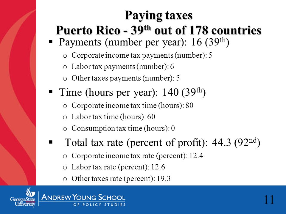 11 Paying taxes Puerto Rico - 39 th out of 178 countries  Payments (number per year): 16 (39 th ) o Corporate income tax payments (number): 5 o Labor