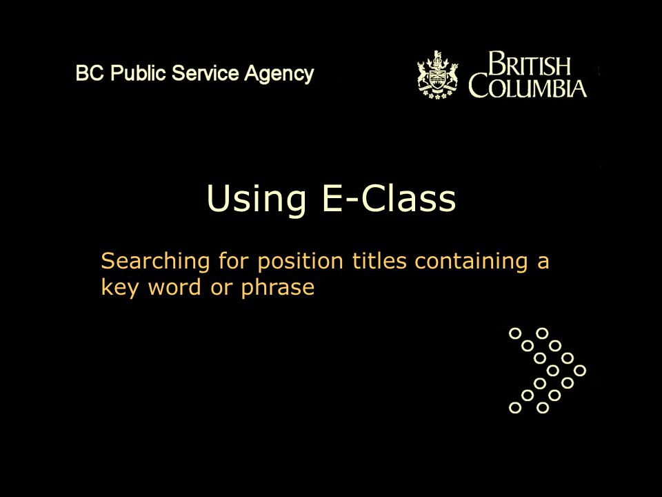 Using E-Class Searching for position titles containing a key word or phrase