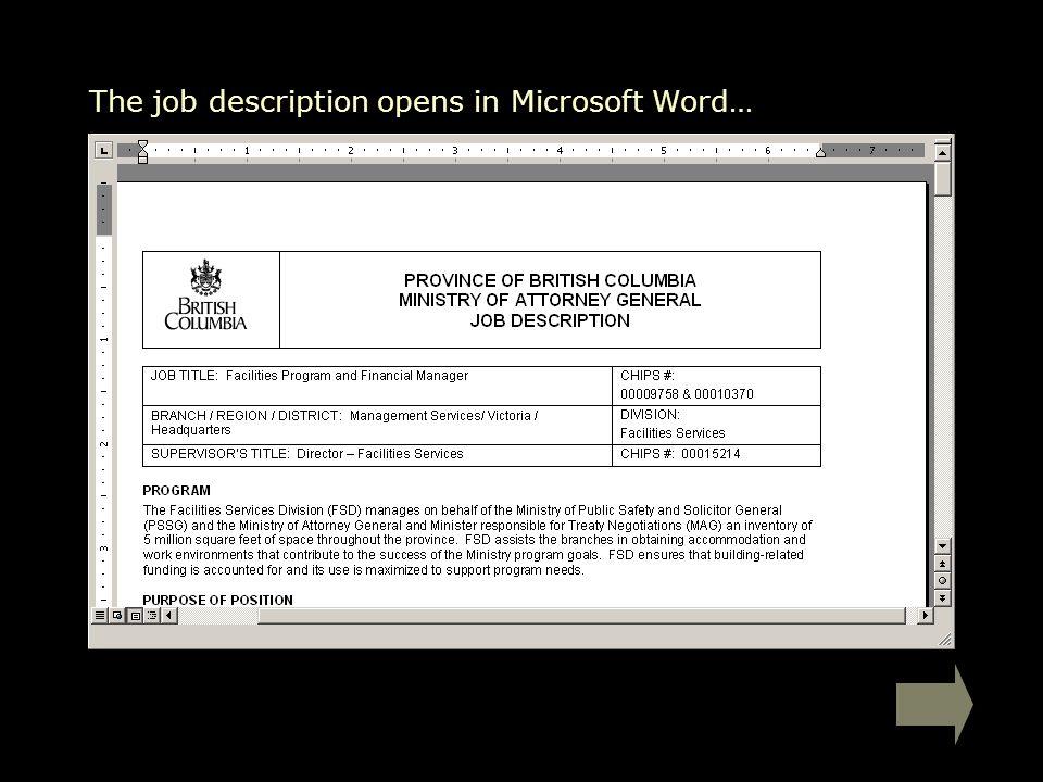 The job description opens in Microsoft Word…