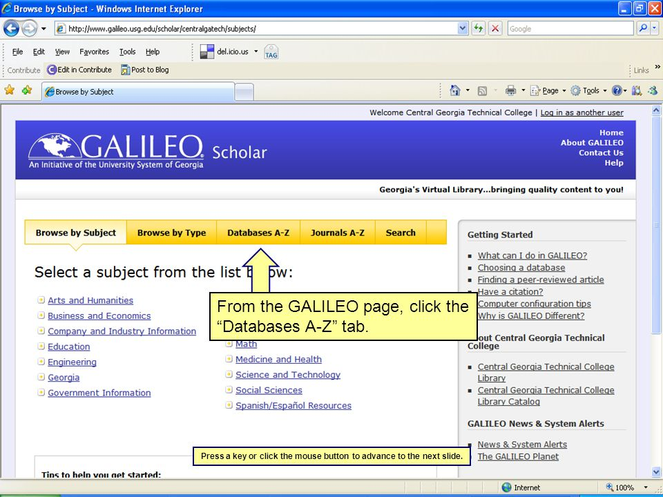 Type ebscohost in the Find Databases search box and click the Find Database button.
