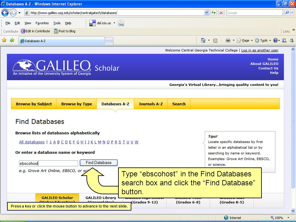Select the database you want to search from the list.