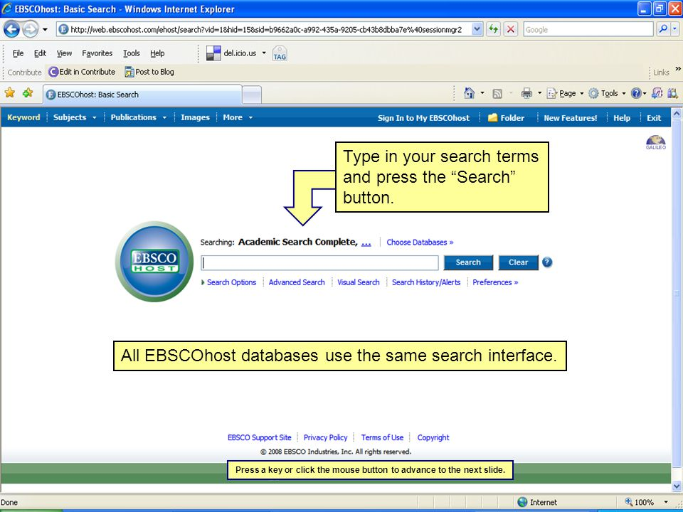 All EBSCOhost databases use the same search interface.