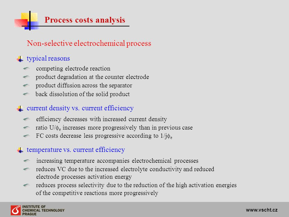 www.vscht.cz Process costs analysis Non-selective electrochemical process typical reasons current density vs. current efficiency efficiency decreases