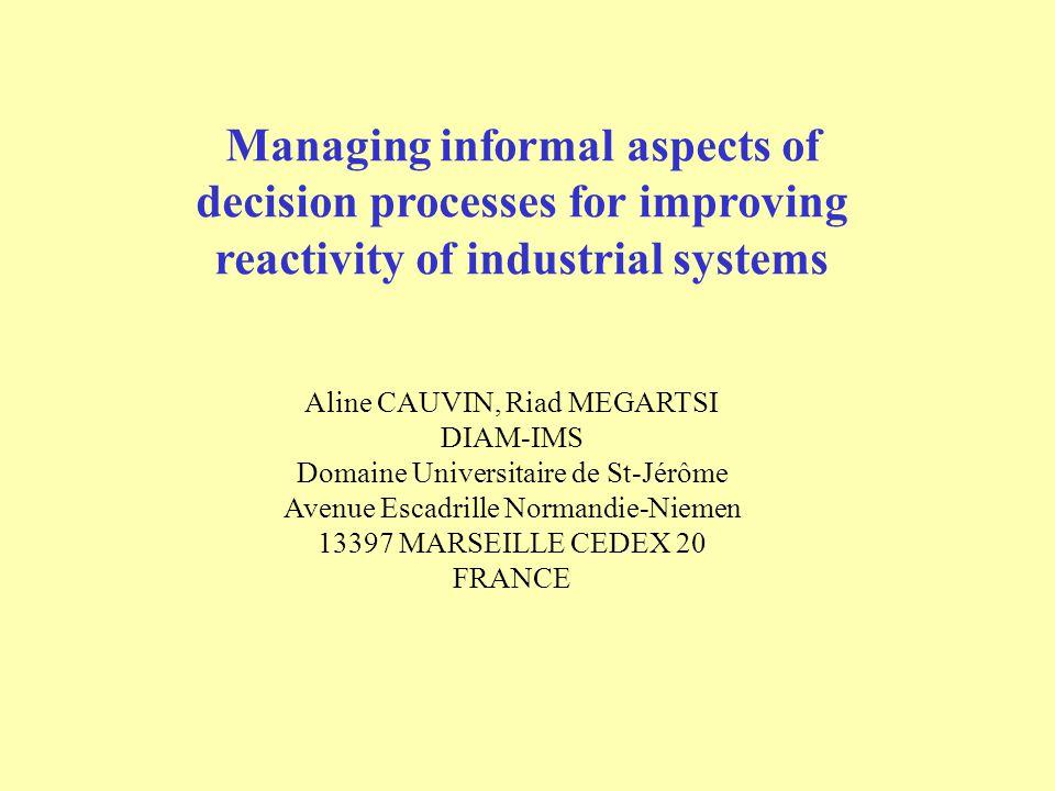 Managing informal aspects of decision processes for improving reactivity of industrial systems Aline CAUVIN, Riad MEGARTSI DIAM-IMS Domaine Universita