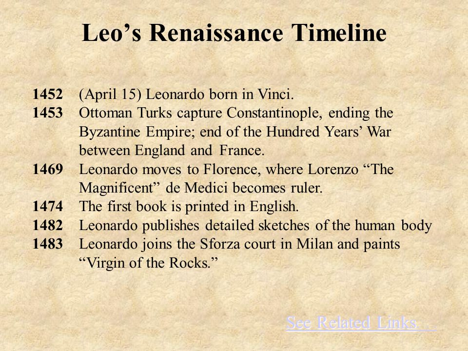 See Related Links See Related Links... 1452 (April 15) Leonardo born in Vinci.