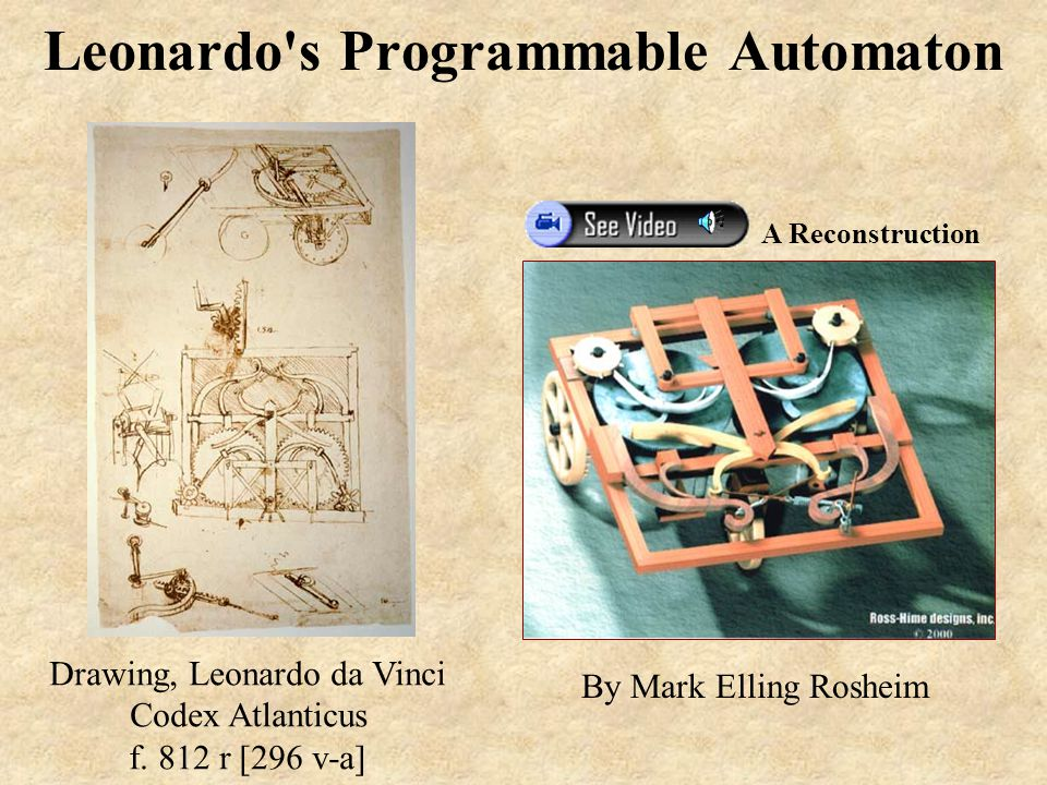 Leonardo s Programmable Automaton By Mark Elling Rosheim Drawing, Leonardo da Vinci Codex Atlanticus f.
