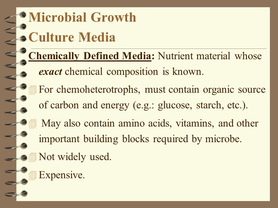 Microbial Growth Culture Media Chemically Defined Media: Nutrient material whose exact chemical composition is known. 4 For chemoheterotrophs, must co