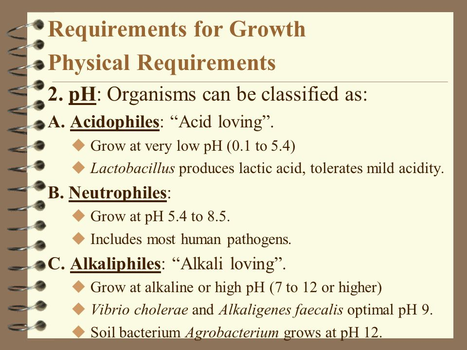 "Requirements for Growth Physical Requirements 2. pH: Organisms can be classified as: A. Acidophiles: ""Acid loving"". u Grow at very low pH (0.1 to 5.4)"