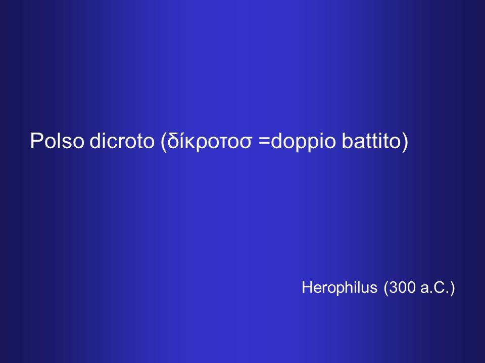 Polso dicroto (δίκροτοσ =doppio battito) Herophilus (300 a.C.)