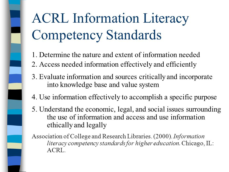 ACRL Information Literacy Competency Standards 1.