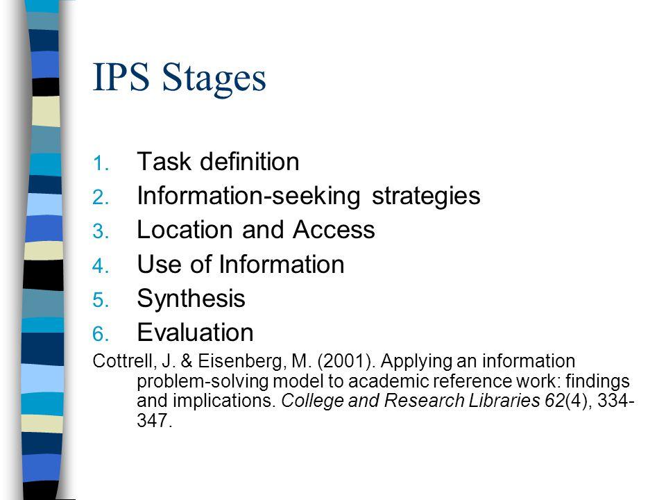 IPS Stages 1. Task definition 2. Information-seeking strategies 3.