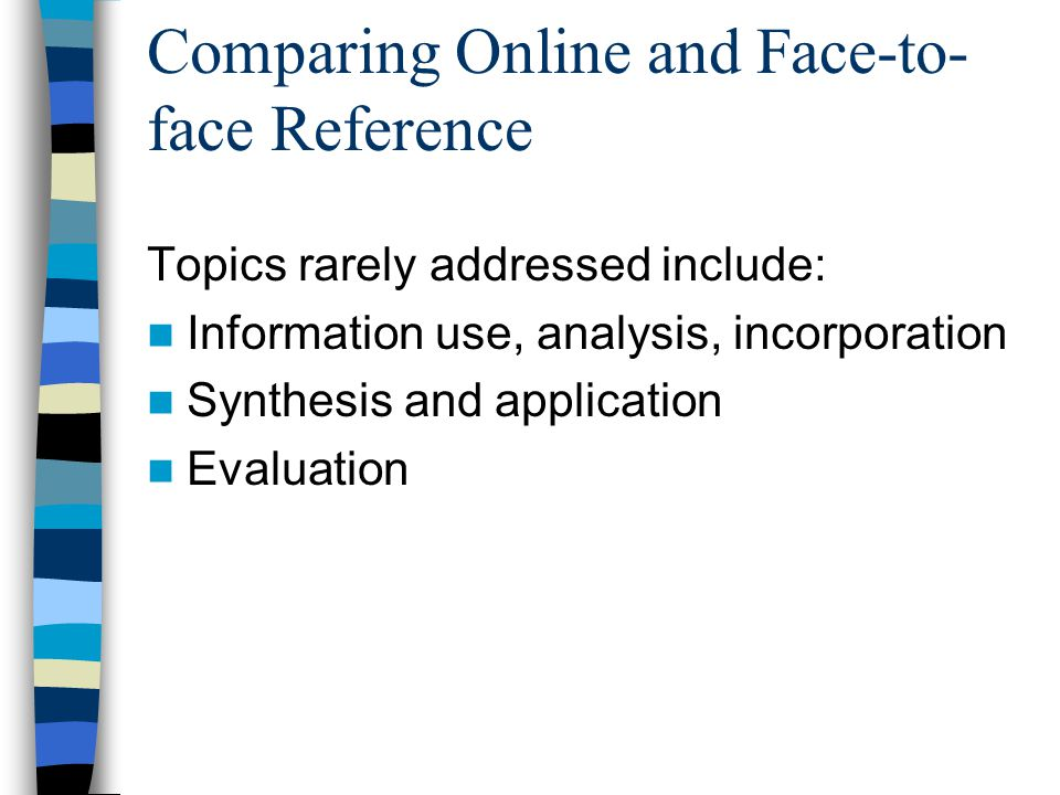 Comparing Online and Face-to- face Reference Topics rarely addressed include: Information use, analysis, incorporation Synthesis and application Evaluation