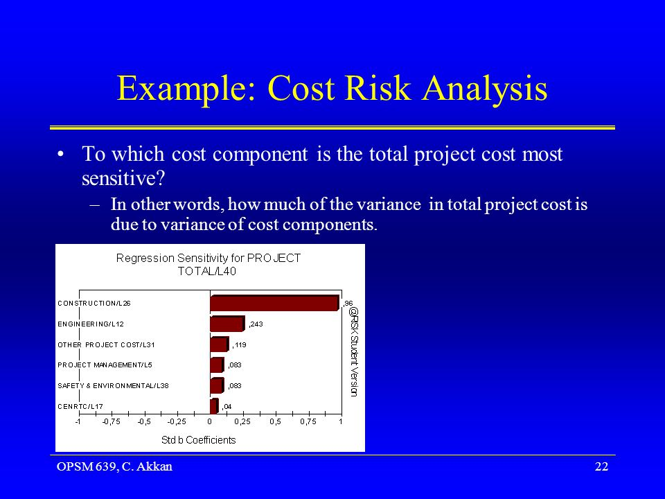 OPSM 639, C. Akkan22 Example: Cost Risk Analysis To which cost component is the total project cost most sensitive? –In other words, how much of the va